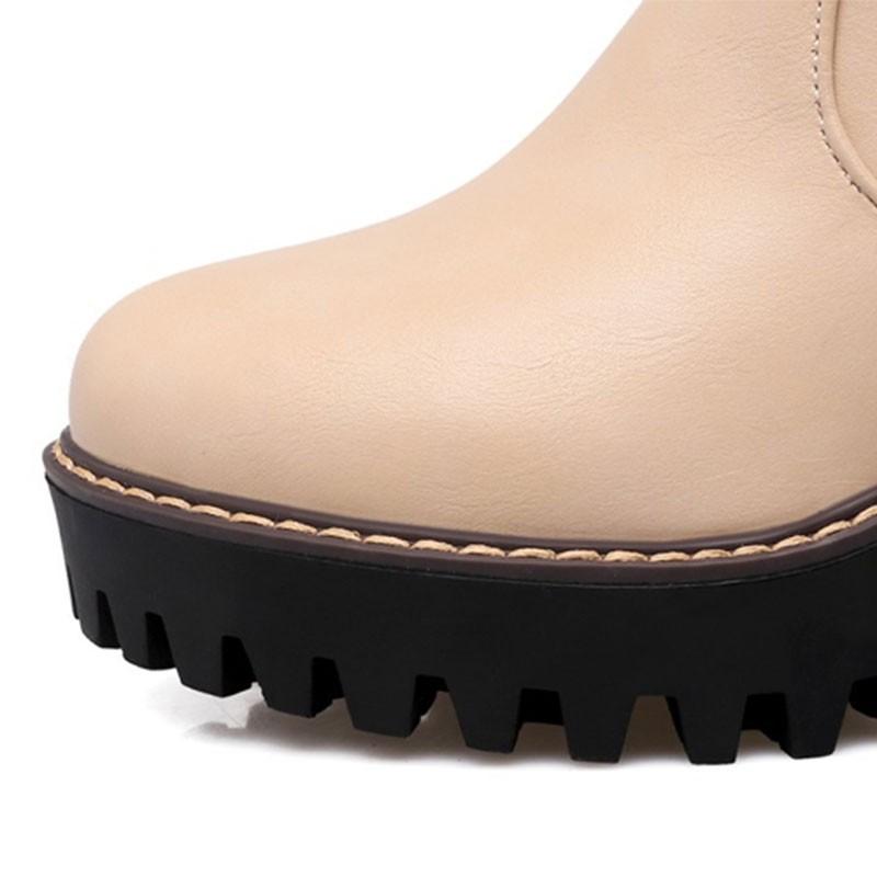 2016 Moda PU Rodilla de Cuero Botas Altas Botas de Mujer Gruesa de Tacón Alto Impermeables de la Plataforma Motocicleta Botas de Montar Tamaño Grande 35-43 O1717
