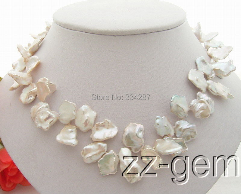 AAA 16-18mm White Keshi Pearl Necklace(China (Mainland))