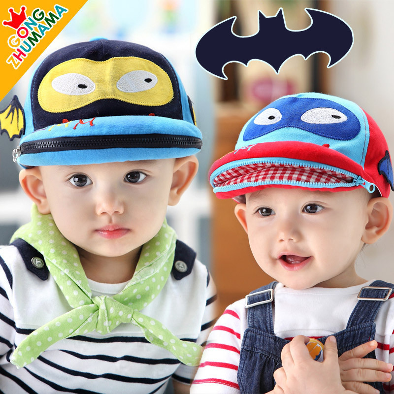 Brand Hot Fnny Zipper Mouth Bat Kids Hats Newborn Baby Baseball Visors Animal Spring Summer Caps Boy Girl Photography Props(China (Mainland))