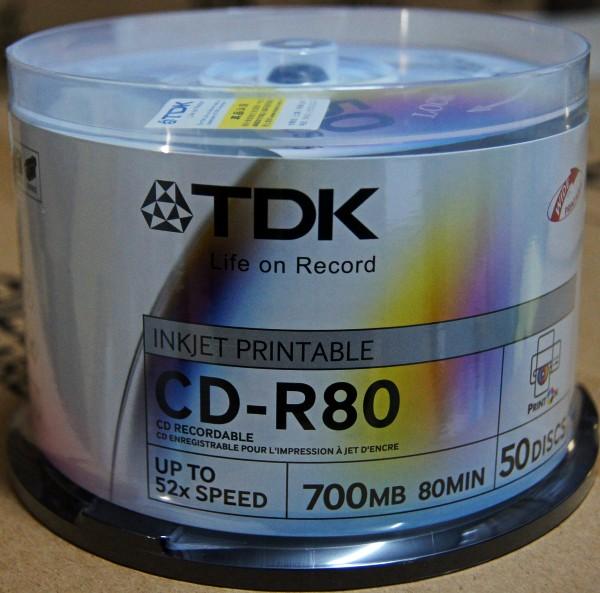 TDK cd-r 52x 700MB printable blank burn blank CD disc 50pcs/lot(China (Mainland))