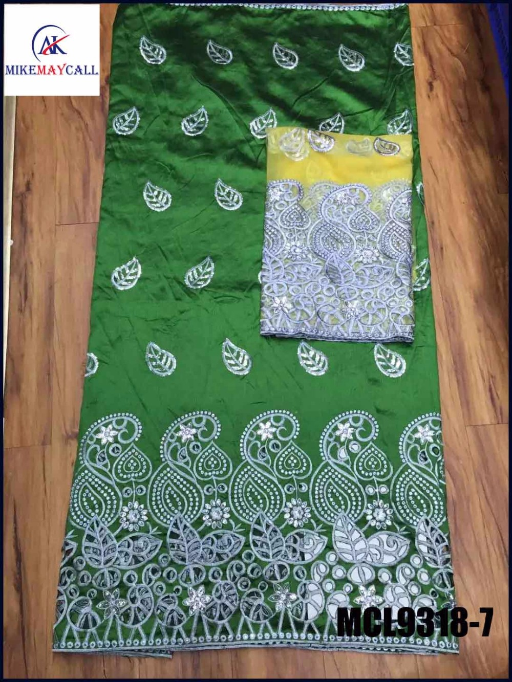 cheap sequins nigeria Green george african lace for sale African george fabrics With Matching Blouse(China (Mainland))