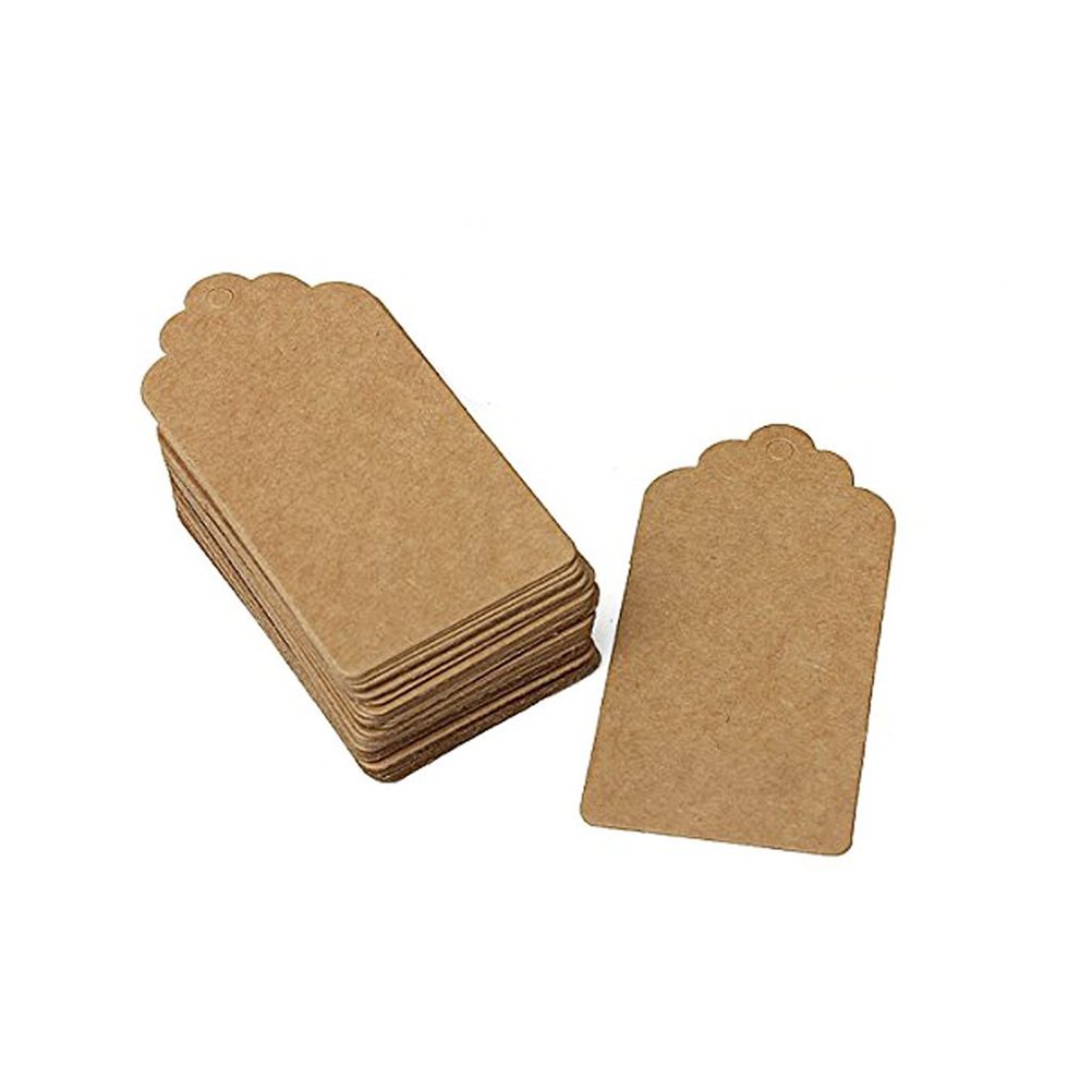 50pcs Rustic 40*70mm Scalloped Kraft Paper Card Blank Brown Wedding Favour Gift Tag Luggage /Price Label(China (Mainland))
