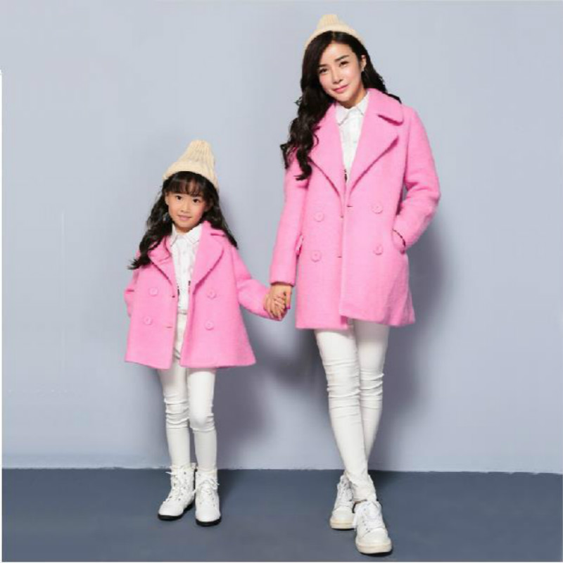 2015 fashion winter family clothing mother daughter Woolen