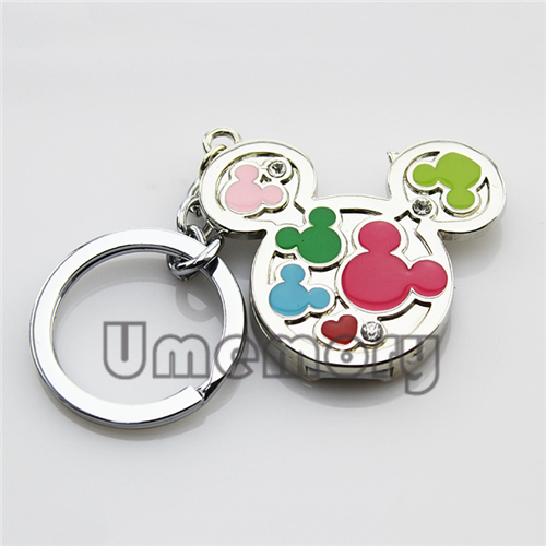Genuine 2G/4G/8G/16G/32G key ring memory stick pen drive usb flash drive colorful mickey head shape wholesale bulk 10pcs/lot(China (Mainland))