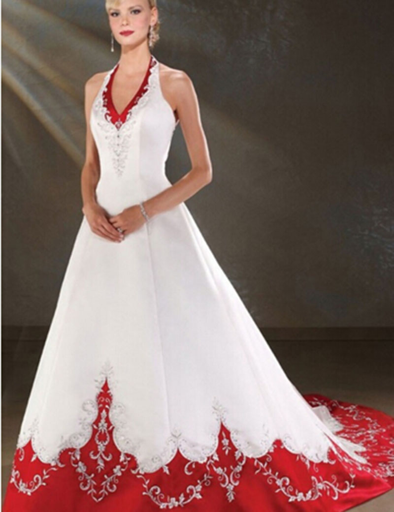 Popular cheap red and white wedding dresses buy cheap for White wedding dress cheap