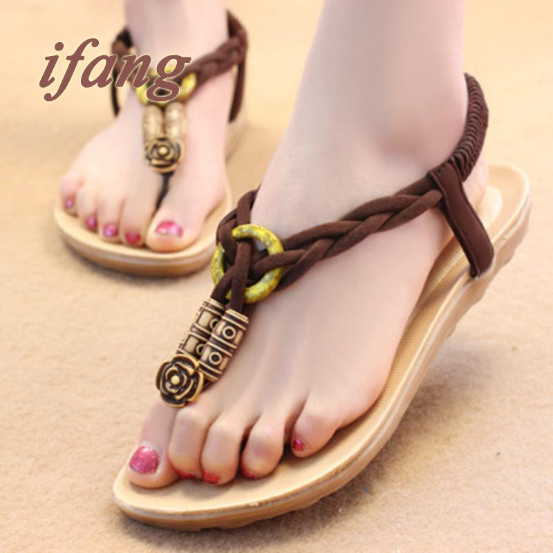 Totem Elastic Band  2016 New Arrival Women  Flats Flat Heel Sandals Woman Fashion Shoes Casual Shoes Women Shoes