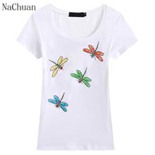 NACHUAN 2016 summer fashion women High quality cotton t-shirt manual beading four Dragonfly T shirt women plus size XXXL(China (Mainland))