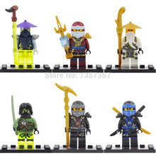 Wholesale Florescent Ninja Minifigures Jay Cole WU 60pcs lot Super Heroes Building Blocks Sets Model Toys
