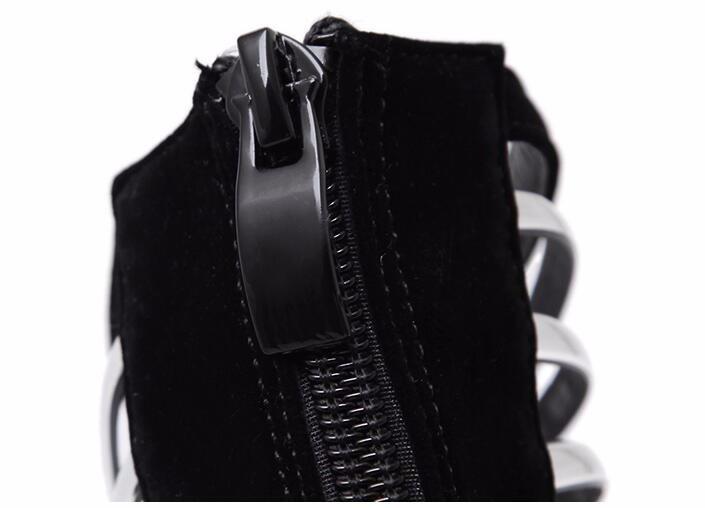 8-Free shipping HOT 16cm heel Flock pumps extreme high platform women shoes Sexy fashion cut-outs HEELS black big size