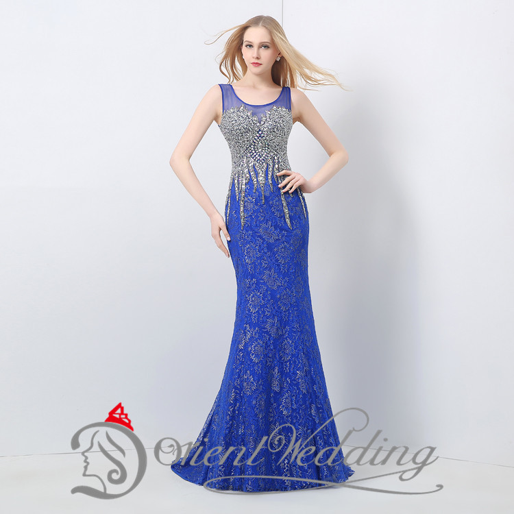 Long Elegant Prom Dresses 2015 Sexy Party Evening Gowns Crystal Fashion Real Image Lace Sheer Beaded Mermaid Foor Length(China (Mainland))