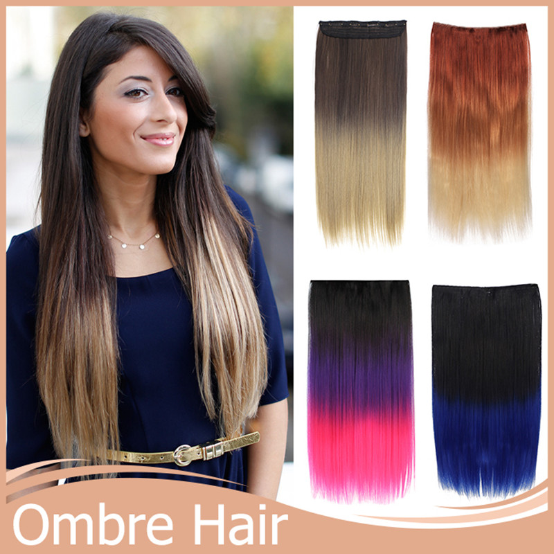 5 Clips Synthetic Hair Extension 18Colors 120g+2460cm High Temperature Clips In Hair Extensions Ombre Hair Extensions Two Tone<br><br>Aliexpress