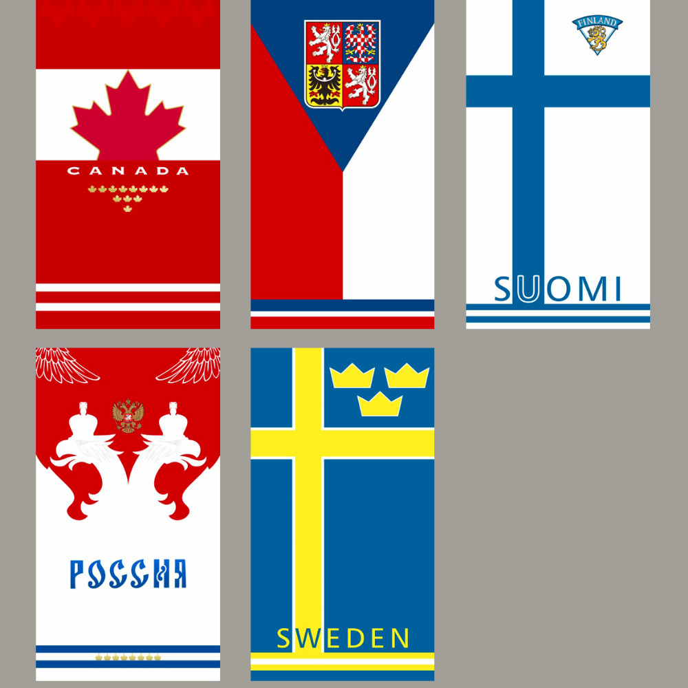 Canada Czech Finland Russia Sweden National team towels sports travel towel Ice hockey towel compact beach towel(China (Mainland))