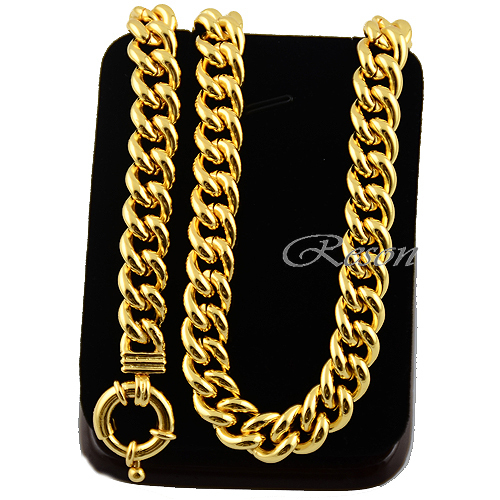 1pcs Chunly Wide 10MM Chains Man Woman Gift 24K Yellow Gold Filled Link Curb Necklace 20inch(China (Mainland))
