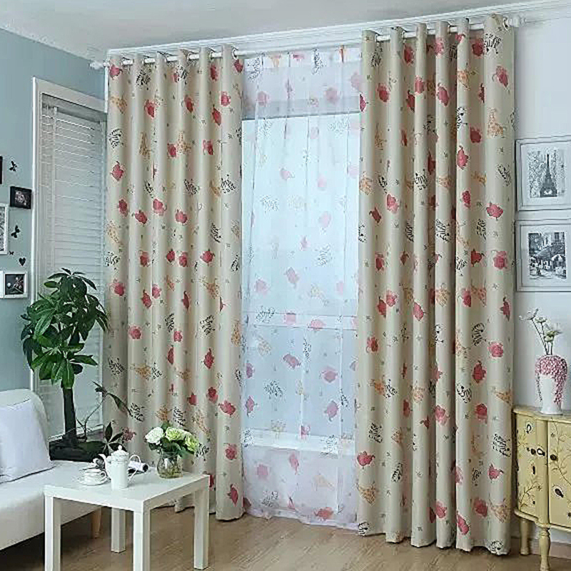 Cute Door Window Curtain Fabric Printed Elephant Giraffe Cartoon Animal Curtain With Tulle For