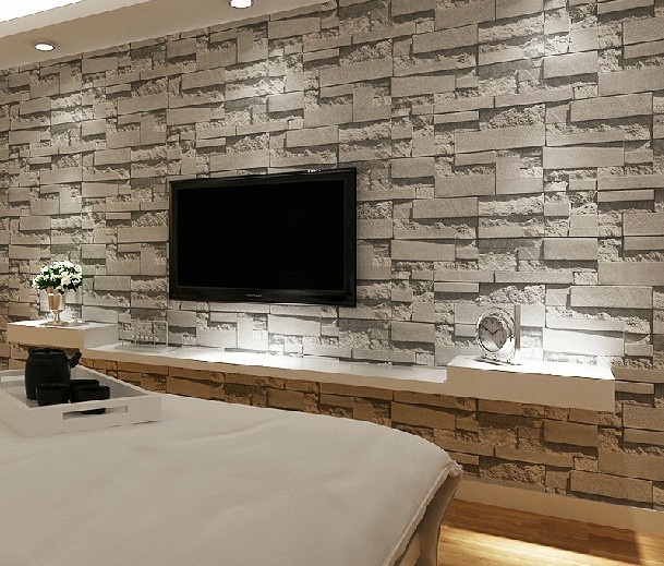 Ziegel Tapete Wohnzimmer : Stone Brick Wall Living Rooms