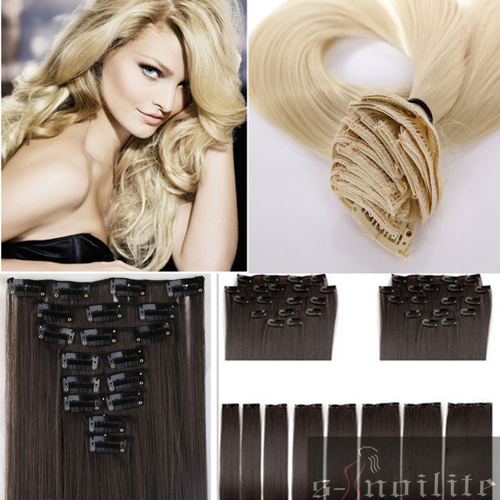 """cheapest real full head clip in on hair extensions Extention straight 26"""" 66CM 8PCS/SET 100% Great Quality Hair Black Brown Red(China (Mainland))"""