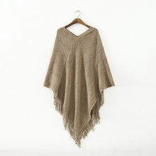 8 Colors 2016 Winter Autumn Women V Neck Batwing Stripes Fringed Stitching Irregular Tops Poncho Shawl Cape Sweater Pullovers(China (Mainland))