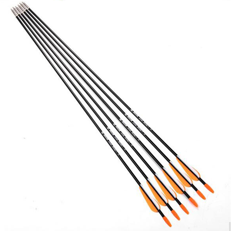 Hot 6pcs lot Fiberglass Arrow with Orange Plastic Feather for Recurve Bow Long Bow Arrow Hunting