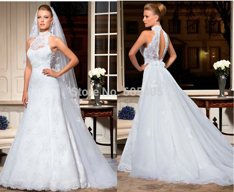 Discount new designer high neck luxury bridal gown lace for High neck backless wedding dress