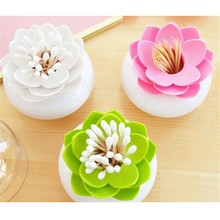 1pc/lot Fashion 4 Colors Lotus Home Decor Toothpick Cotton Swab Holder Storage Box Pick Toothpick case GI870661(China (Mainland))
