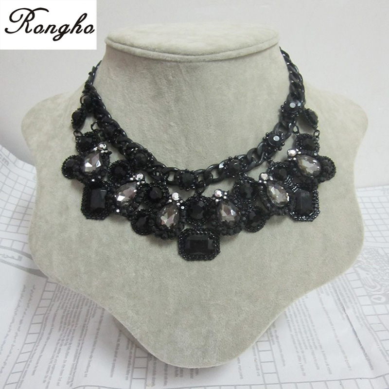 luxurious glass&rhinestones tear drop statement necklace&pendants women fashion za charms black necklace brand - Rongho jewelry 216326 store