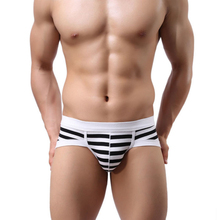 Amazing Men Sexy Underwear Men's Stripe Cotton Briefs Underpants M L XL Free Shipping(China (Mainland))