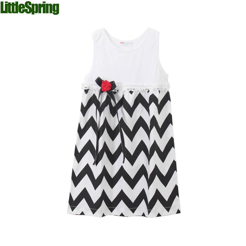 Children clothing 2016 summer girls clothes girl's dresses cute rose flower chevron print girl tank dress toddler - baby_mart store