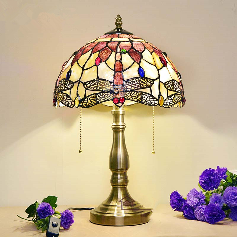 Crystal Shell Handmade Desk Lamp Living Room Bedroom Beside Decoration Light Europe Style Warm LED Dragonfly Tiffany Table Lamp(China (Mainland))