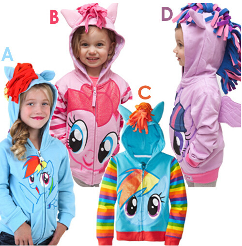 Retail 2015 Children's Coat girls my little pony hoodies jackets Kids cartoon Clothes baby outerwear for Spring Autumn Free(China (Mainland))
