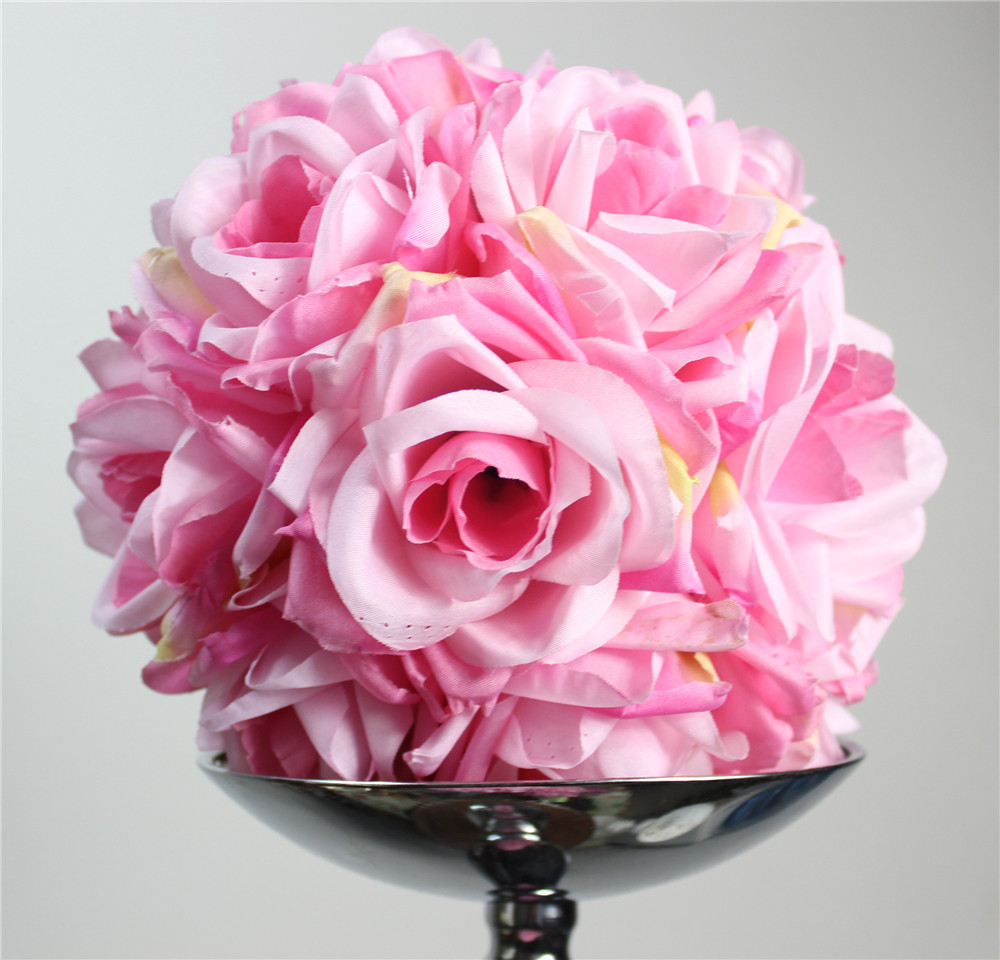 Free shipping high grade PINK 20CM*10pcs/lot Pomander rose ball wedding kissing flower ball party/home decoration flower(China (Mainland))