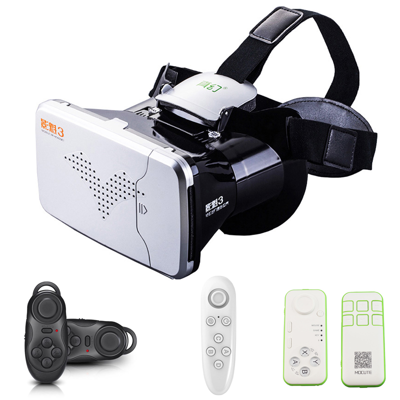 RITECH III VR Virtual Reality 3D Glasses Headset Oculus Rift Head Mount Google Cardboard Movie Game + Bluetooth Remote Control(China (Mainland))
