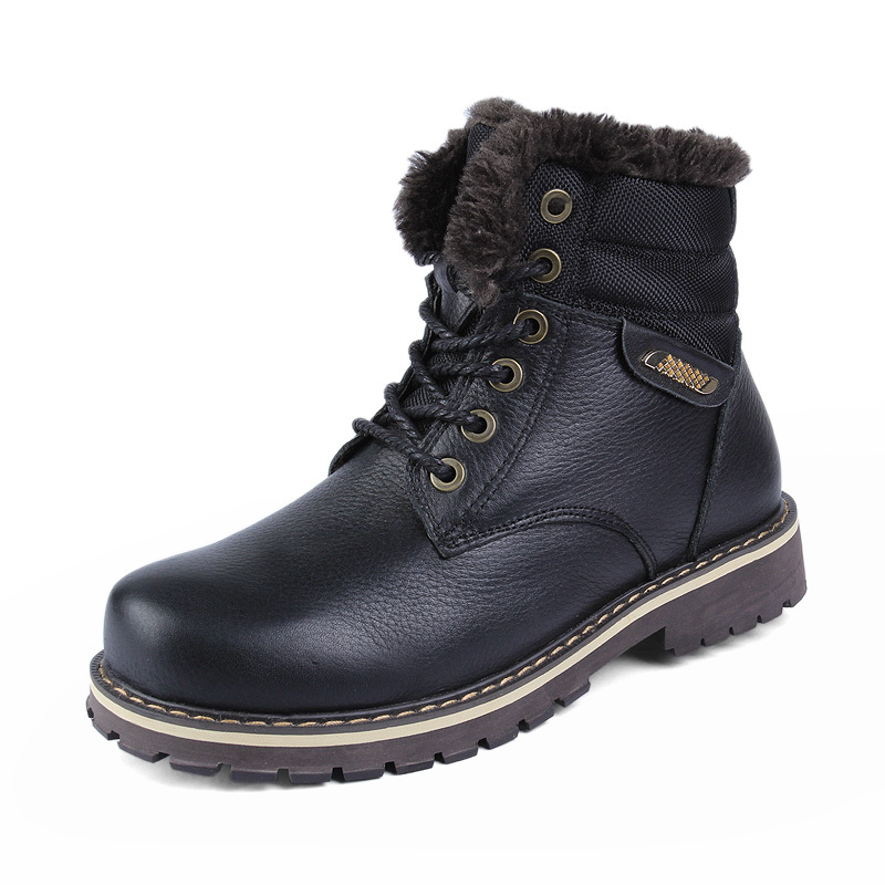 Size 37~50 genuine leather winter snow boots Russian style men winter shoes(China (Mainland))
