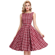 Woman Casual 50s 60s Robe femme Vintage Plaid Dresses vestido 2016 Pin Up Retro Summer Style Vestidos plus size women clothing