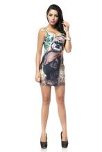 Fashion TQ048 Women's 3D printing golden water drop cool cartoon prints elastic summer sexy Girl bodycon tight dress