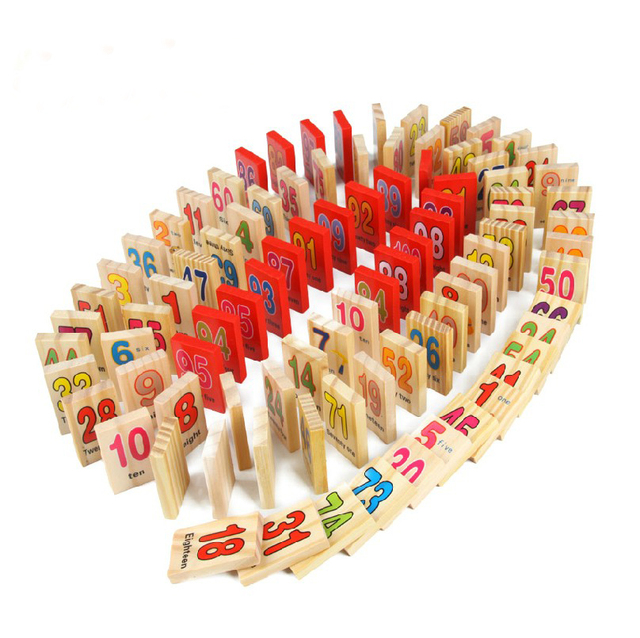 3D Wooden Puzzle Numbers and Alphabet Dominoes Set Eductional Toy