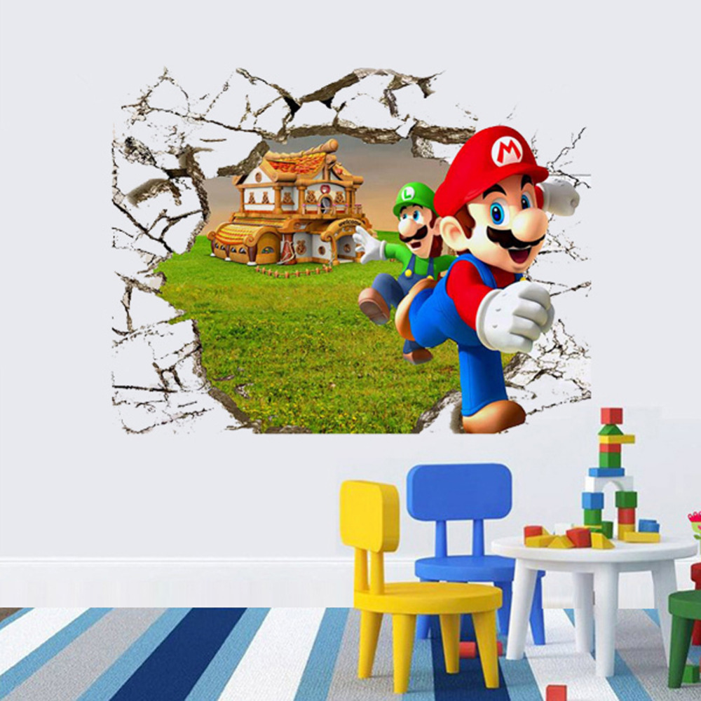 New 3d super mario bros cartoon vinyl wall stickers for for Stickers 3d pared