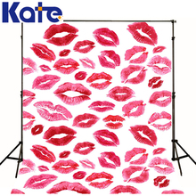 kate photographic background Valentine lipstick lips Women backdrops kids wedding photo scenic 7x5ft(China (Mainland))
