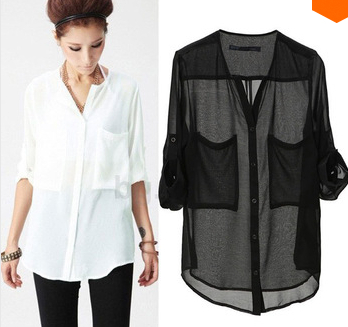 Black And White Chiffon Blouse