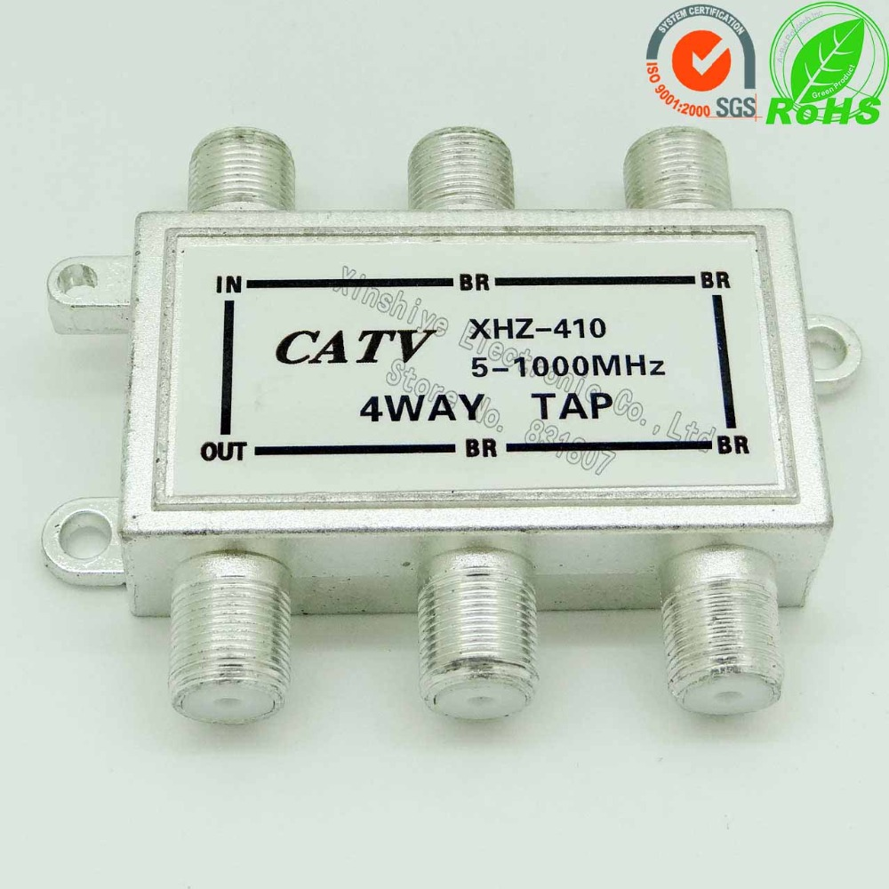 410 4 Way Tap Indoor Shielded Tap Off 10dB 5-1GHz 2/4Tap F Plug Cable Tap CATV Signal Branch F-pin Coax Cable Splitter 10PCS(China (Mainland))