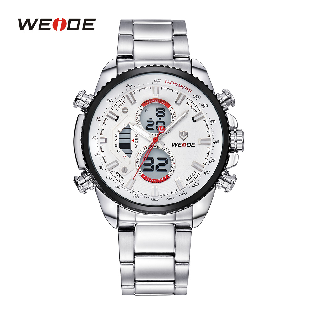 Fashion WEIDE Men Sports Watches Analog Digital Outdoor Military Army LCD Display Full Stainless Steel Watch 3ATM Luxury WH3410<br><br>Aliexpress