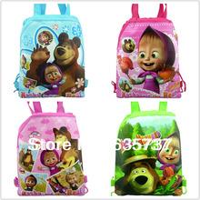 Hot Selling 4Pcs Masha and bearchildren backpacks  School Bags  Cartoon Drawstring Backpack ,fashion back packs(China (Mainland))