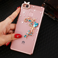 SMILE Case For Huawei P9 Series Blue Butterfly flowers Rhinestone back cover Case for Huawei P9