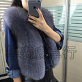 Short design fox fur coat vest waistcoat vest female full leather female