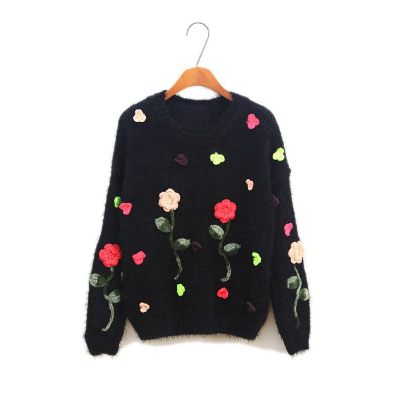 Autumn winter female new sweater women rose three-dimensional crochet flowers hairy mohair pullovers bottoming sweater(China (Mainland))