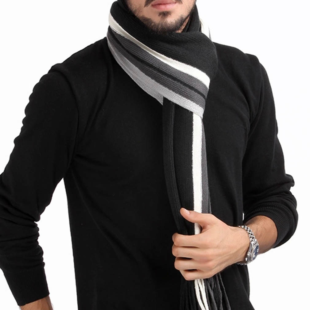 2015 New fashion designer Men Classic Cashmere Scarf Winter Warm Soft Fringe Striped Tassel Shawl Wrap striped scarf men scarves(China (Mainland))
