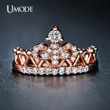 Buy UMODE 2016 New Arrival Anillos Wholesale Rose Gold Color Round Cut Cubic Zirconia Fashion Crown Rings Women Jewelry AUR0217 for $2.96 in AliExpress store