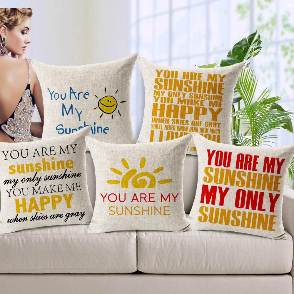 Refinement Sofa Cushion Linen Texture Yellow And Red English Letters Cushions Pillow Case Dining Chairs Ikea Printing(China (Mainland))