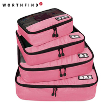 """2016 New Breathable Travel Bag 4 Set Packing Cubes Luggage Packing Organizers with Shoe Bag Fit 23"""" Carry on Suitcase(China (Mainland))"""