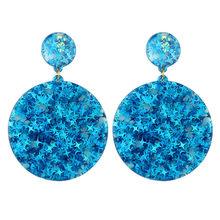 SUKI Colorful Bling Satr ZA*a Jewelry Acrylic Resin Drop Earrings For Women Geometry Big Round Glitter Earrings Acetate Brincos(China)