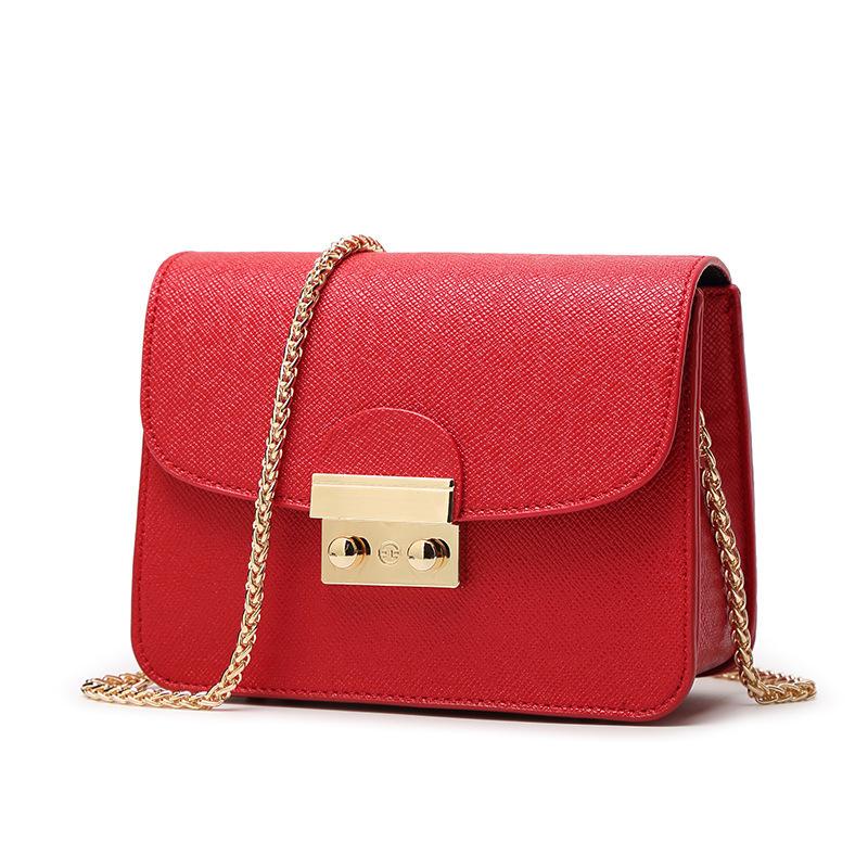 Luxury handbags women bags designer High Quality Genuine Leather Messenger Bags Solid Color Chains Versatile Bolsa Feminina(China (Mainland))